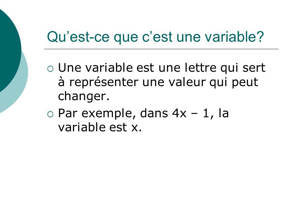 Quest-ce que cest une variable? Une variable est une lettre qui sert à représenter une valeur qui peut changer. Par exemple, dans 4x – 1, la variable
