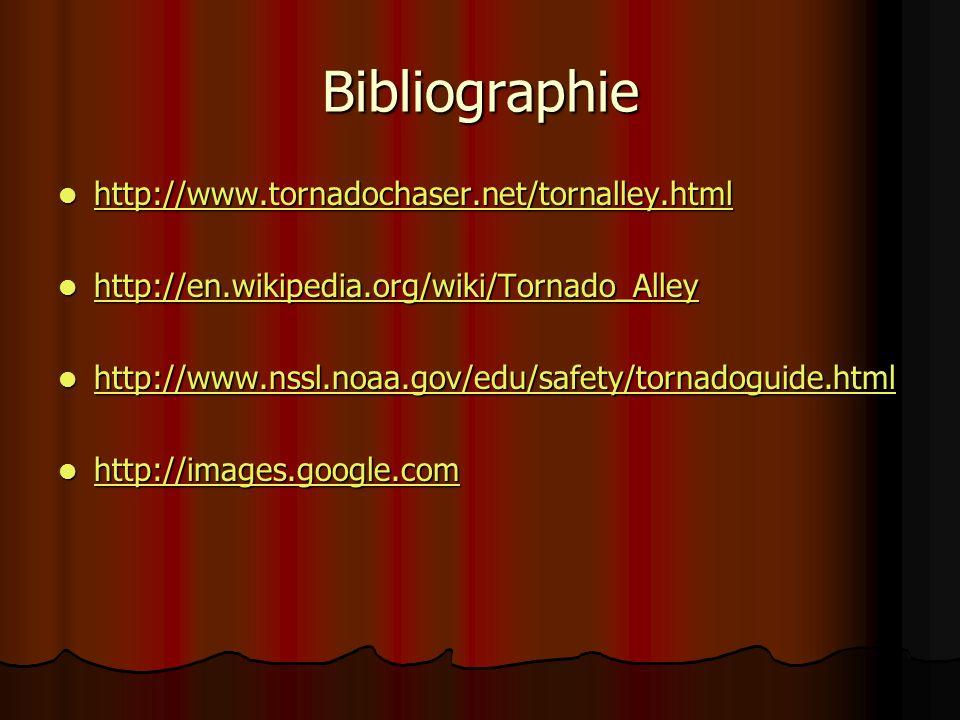 Bibliographie http://www.tornadochaser.net/tornalley.html http://www.tornadochaser.net/tornalley.html http://www.tornadochaser.net/tornalley.html http