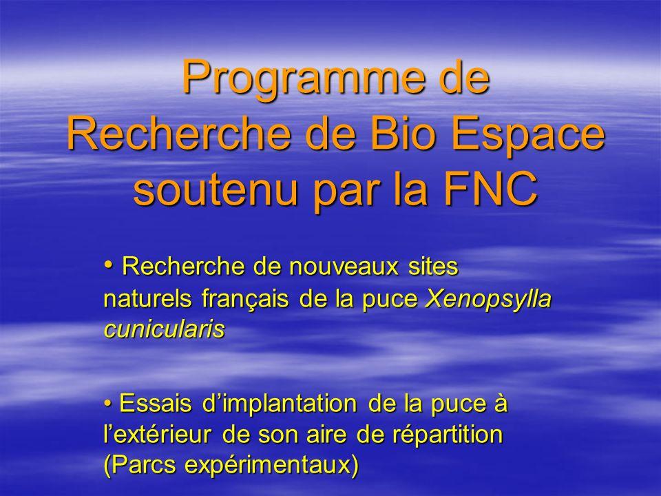 Programme de Recherche de Bio Espace soutenu par la FNC Recherche de nouveaux sites naturels français de la puce Xenopsylla cunicularis Recherche de n