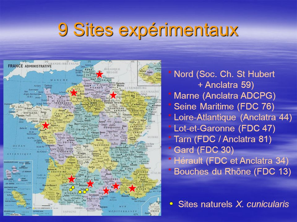 9 Sites expérimentaux * Nord (Soc. Ch. St Hubert + Anclatra 59) * Marne (Anclatra ADCPG) * Seine Maritime (FDC 76) * Loire-Atlantique (Anclatra 44) *