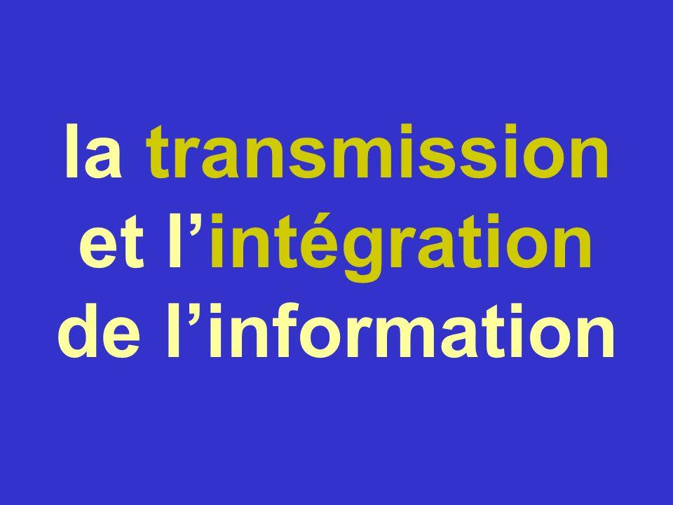 la transmission et lintégration de linformation