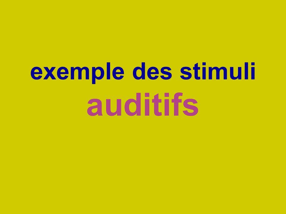 exemple des stimuli auditifs