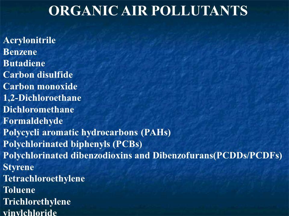 ORGANIC AIR POLLUTANTS Acrylonitrile Benzene Butadiene Carbon disulfide Carbon monoxide 1,2-Dichloroethane Dichloromethane Formaldehyde Polycycli aromatic hydrocarbons (PAHs) Polychlorinated biphenyls (PCBs) Polychlorinated dibenzodioxins and Dibenzofurans(PCDDs/PCDFs) Styrene Tetrachloroethylene Toluene Trichlorethylene vinylchloride