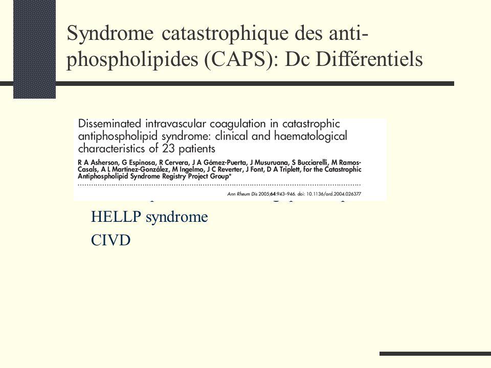 SHU (E coli O157 H7 ) PTT ( schisocytes +++ ) Thrombopénie immunoallergique à héparine HELLP syndrome CIVD Syndrome catastrophique des anti- phospholi