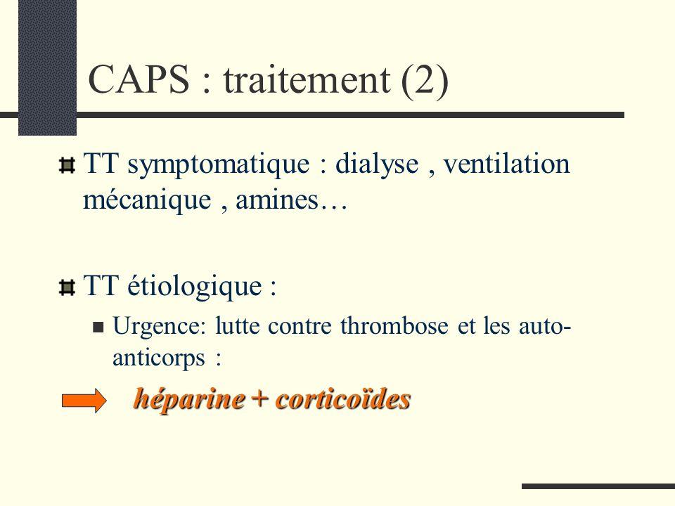 CAPS : traitement (2) TT symptomatique : dialyse, ventilation mécanique, amines… TT étiologique : Urgence: lutte contre thrombose et les auto- anticor