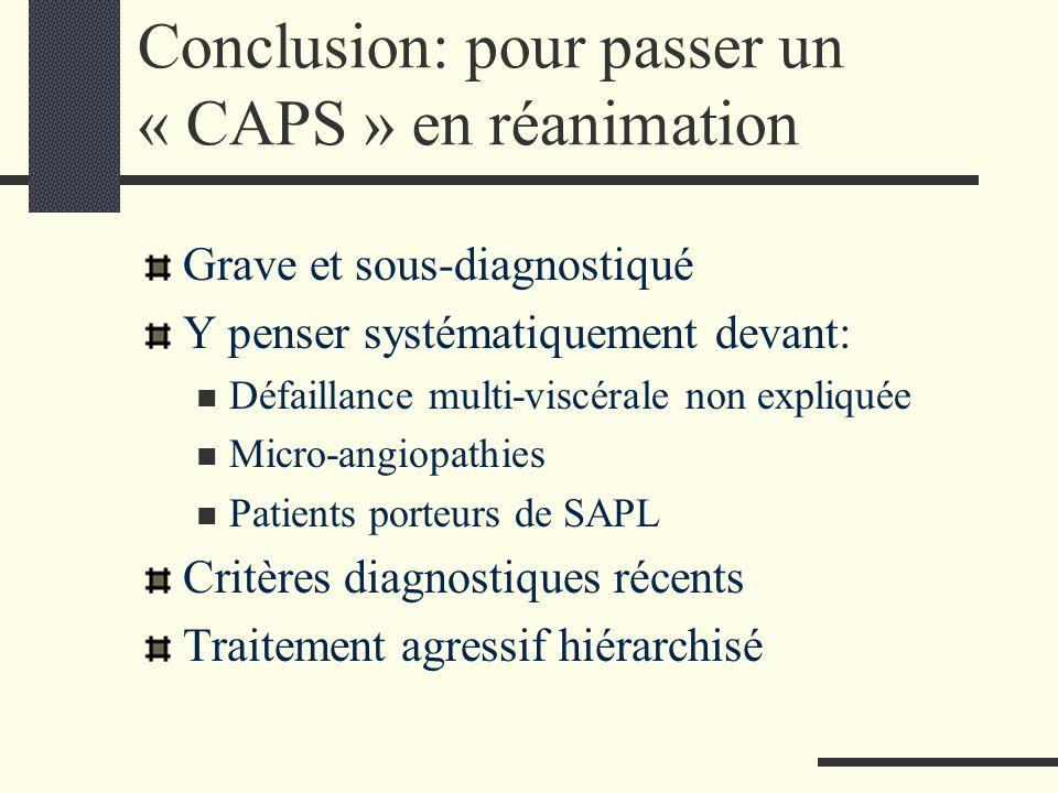 Conclusion: pour passer un « CAPS » en réanimation Grave et sous-diagnostiqué Y penser systématiquement devant: Défaillance multi-viscérale non expliq