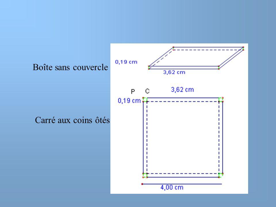 Représentons la fonction donnant le VOLUME de la boîte sans couvercle en fonction de  PC  ( côté des coins ôtés)