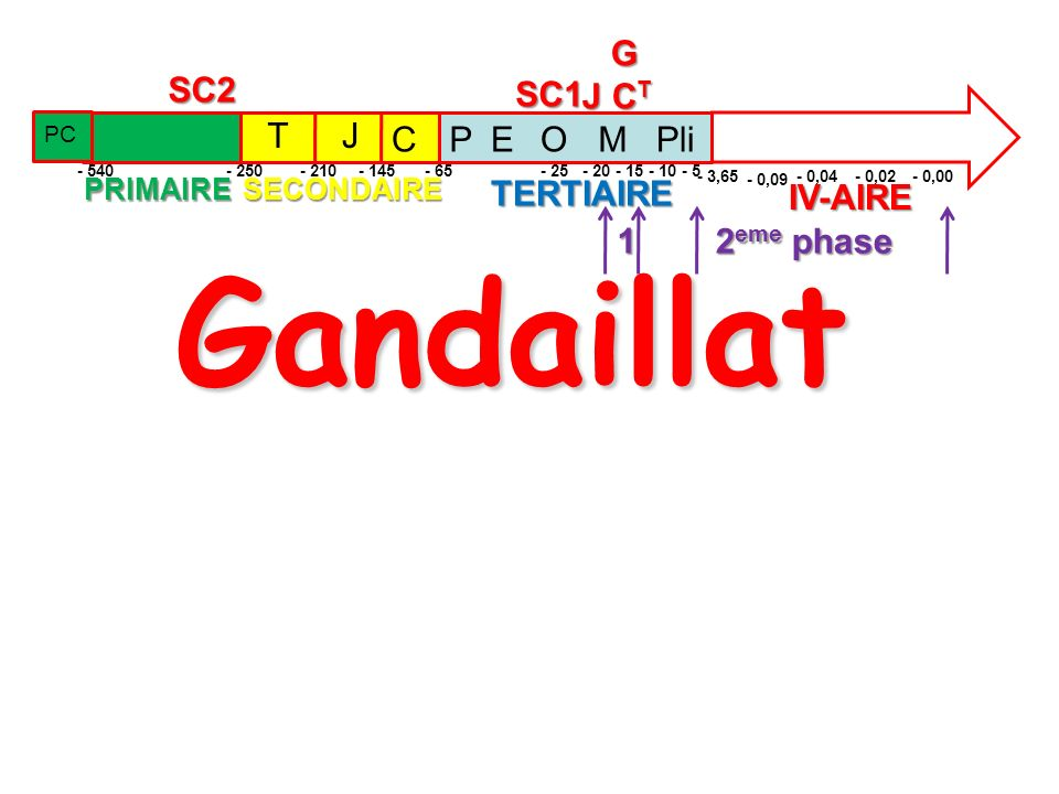 Gandaillat PRIMAIRESECONDAIRETERTIAIRE IV-AIRE TJ C - 250- 210- 145 - 65 SC1SC2 - 540 PC PEOMPli - 3,65 - 0,09 - 0,04- 0,02- 0,00 G J C T - 25- 20- 15- 10- 5 1 2 eme phase