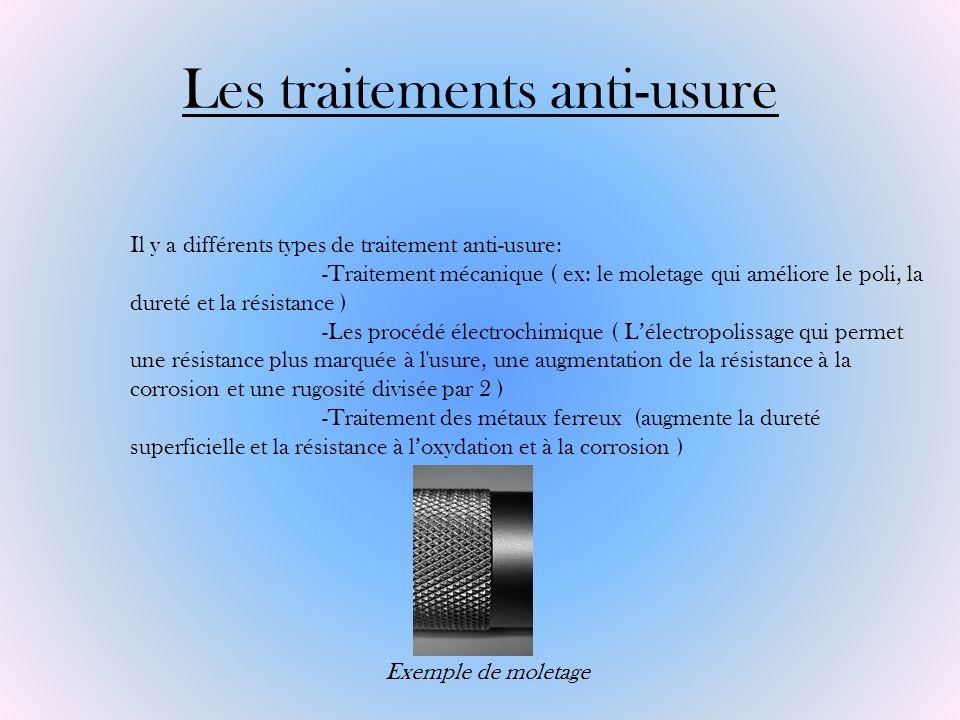 Les traitements anti-usure Il y a différents types de traitement anti-usure: -Traitement mécanique ( ex: le moletage qui améliore le poli, la dureté e