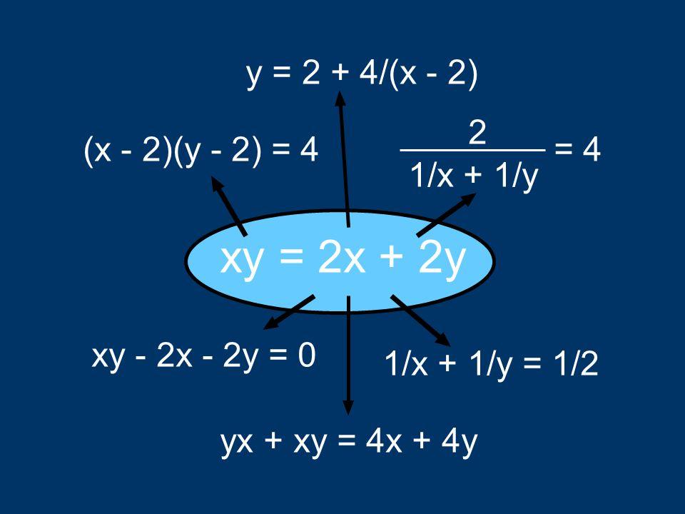 1/x + 1/y = 1/2 xy = 2x + 2y y = 2 + 4/(x - 2) (x - 2)(y - 2) = 4 xy - 2x - 2y = 0 = 4 1/x + 1/y 2 yx + xy = 4x + 4y