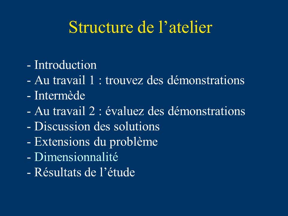 Structure de latelier - Introduction - Au travail 1 : trouvez des démonstrations - Intermède - Au travail 2 : évaluez des démonstrations - Discussion des solutions - Extensions du problème - Dimensionnalité - Résultats de létude
