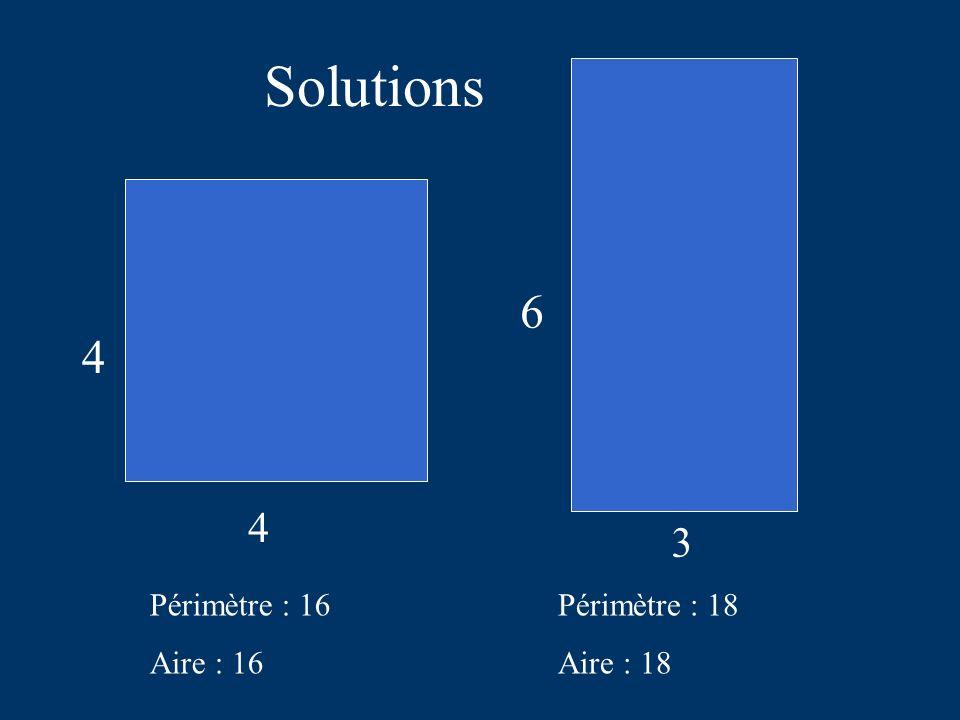 Solutions 4 4 Périmètre : 16 Aire : 16 3 6 Périmètre : 18 Aire : 18