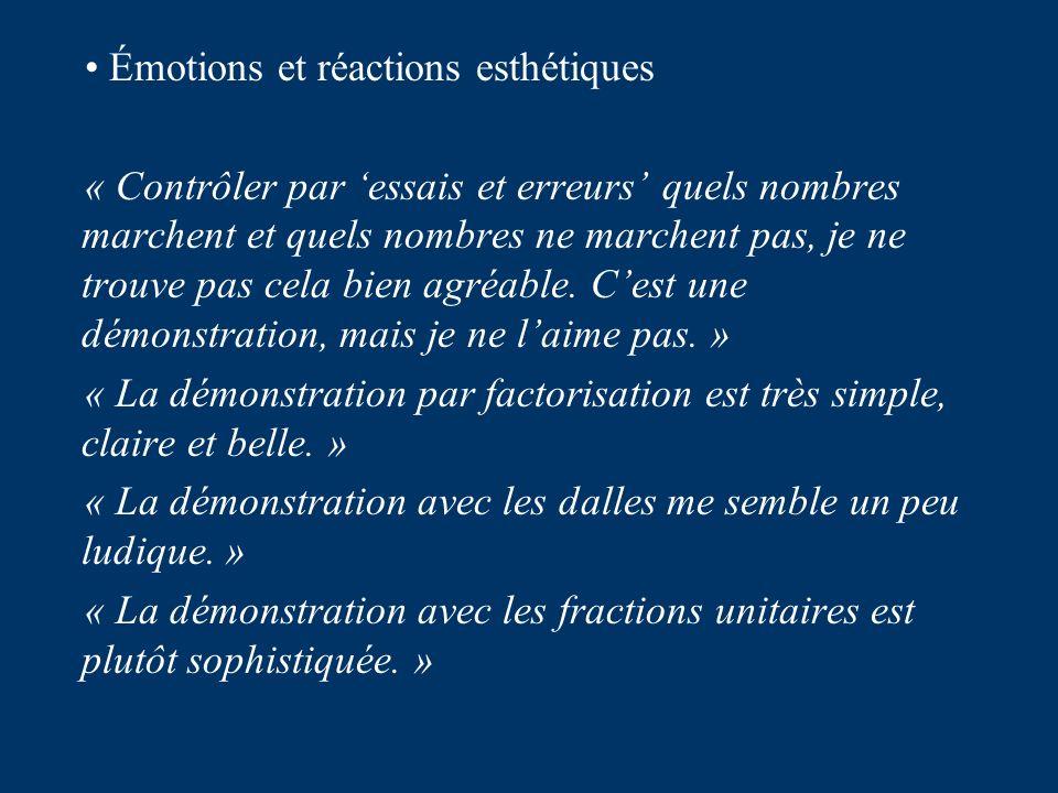 Émotions et réactions esthétiques « Contrôler par essais et erreurs quels nombres marchent et quels nombres ne marchent pas, je ne trouve pas cela bien agréable.