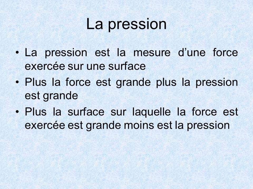 La pression La pression est la mesure dune force exercée sur une surface Plus la force est grande plus la pression est grande Plus la surface sur laquelle la force est exercée est grande moins est la pression