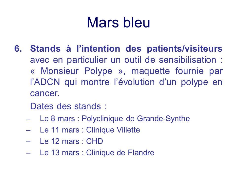 Mars bleu 6.Stands à lintention des patients/visiteurs avec en particulier un outil de sensibilisation : « Monsieur Polype », maquette fournie par lAD
