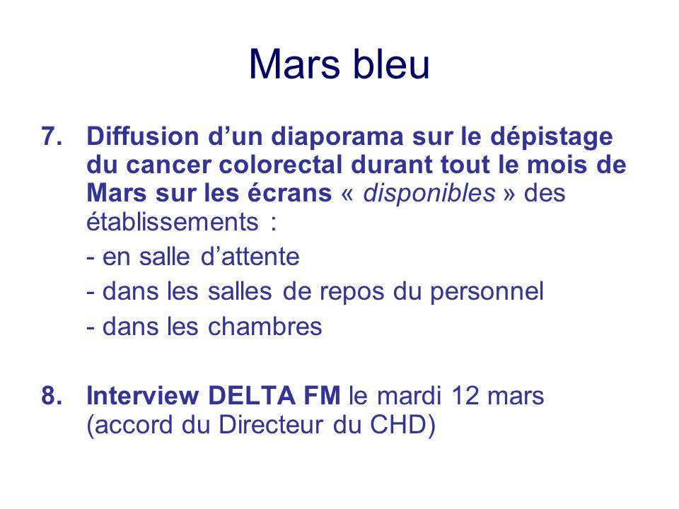 Mars bleu 7.Diffusion dun diaporama sur le dépistage du cancer colorectal durant tout le mois de Mars sur les écrans « disponibles » des établissement