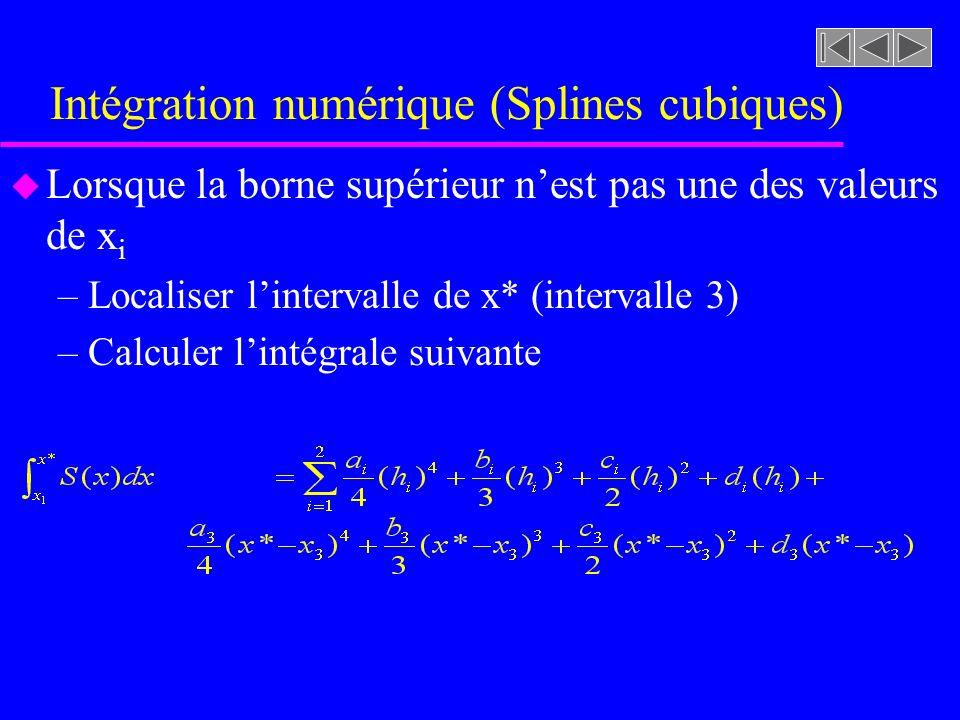 Intégration numérique (Splines cubiques) u Lorsque la borne supérieur nest pas une des valeurs de x i –Localiser lintervalle de x* (intervalle 3) –Cal
