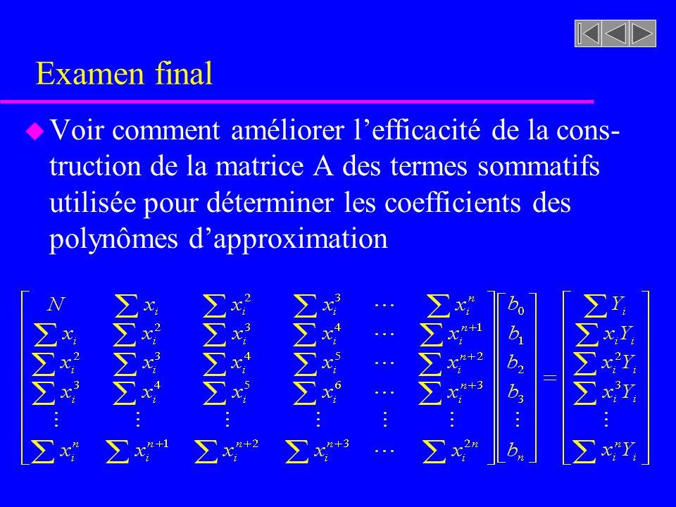 Examen final u Voir comment améliorer lefficacité de la cons- truction de la matrice A des termes sommatifs utilisée pour déterminer les coefficients