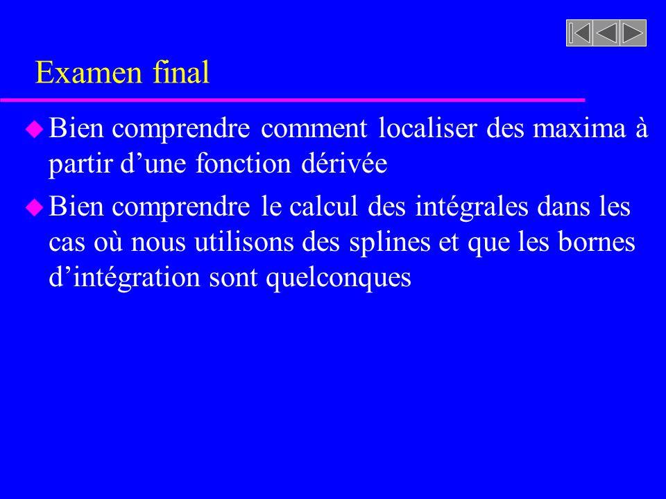 Examen final u Bien comprendre comment localiser des maxima à partir dune fonction dérivée u Bien comprendre le calcul des intégrales dans les cas où