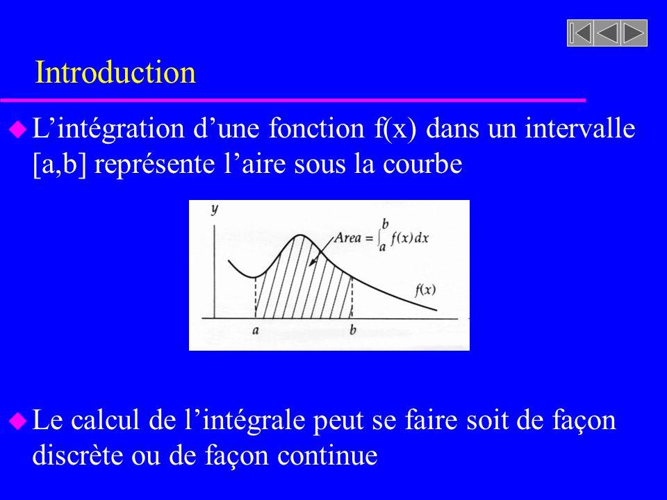 Introduction u Lintégration dune fonction f(x) dans un intervalle [a,b] représente laire sous la courbe u Le calcul de lintégrale peut se faire soit d