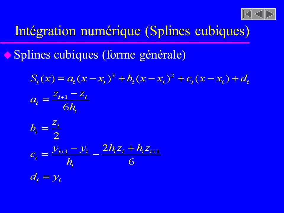 Intégration numérique (Splines cubiques) u Lintégrale prend alors la forme générale suivante: n-1: Nombre dintervalles n: Nombre de points de contrôle