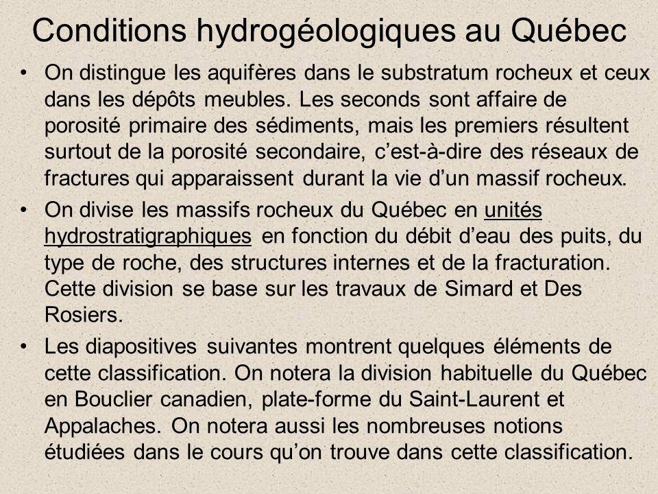 Conditions hydrogéologiques au Québec On distingue les aquifères dans le substratum rocheux et ceux dans les dépôts meubles. Les seconds sont affaire
