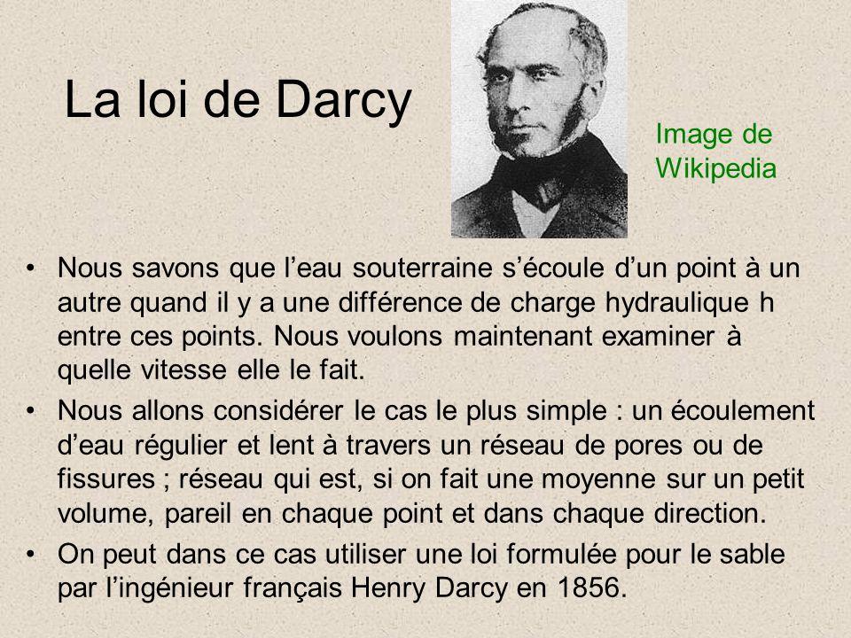 La loi de Darcy Nous savons que leau souterraine sécoule dun point à un autre quand il y a une différence de charge hydraulique h entre ces points.