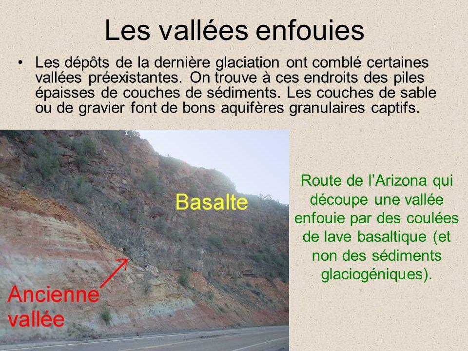 Les vallées enfouies Les dépôts de la dernière glaciation ont comblé certaines vallées préexistantes. On trouve à ces endroits des piles épaisses de c