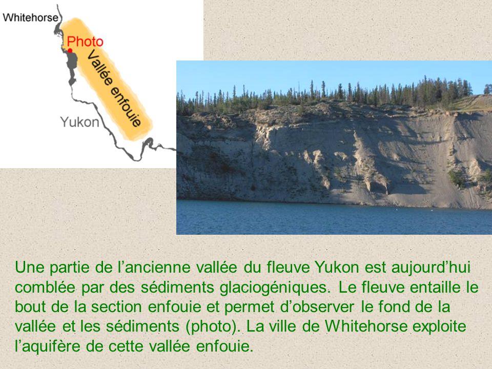 Une partie de lancienne vallée du fleuve Yukon est aujourdhui comblée par des sédiments glaciogéniques. Le fleuve entaille le bout de la section enfou