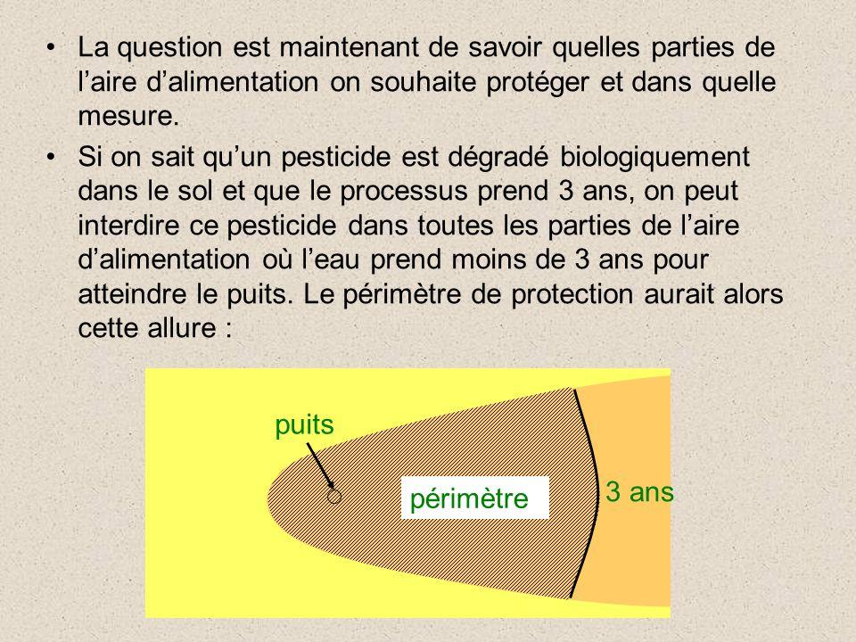 La question est maintenant de savoir quelles parties de laire dalimentation on souhaite protéger et dans quelle mesure. Si on sait quun pesticide est