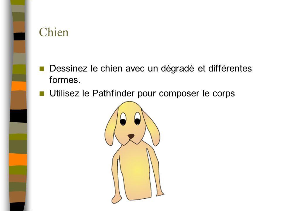 Chien Dessinez le chien avec un dégradé et différentes formes. Utilisez le Pathfinder pour composer le corps