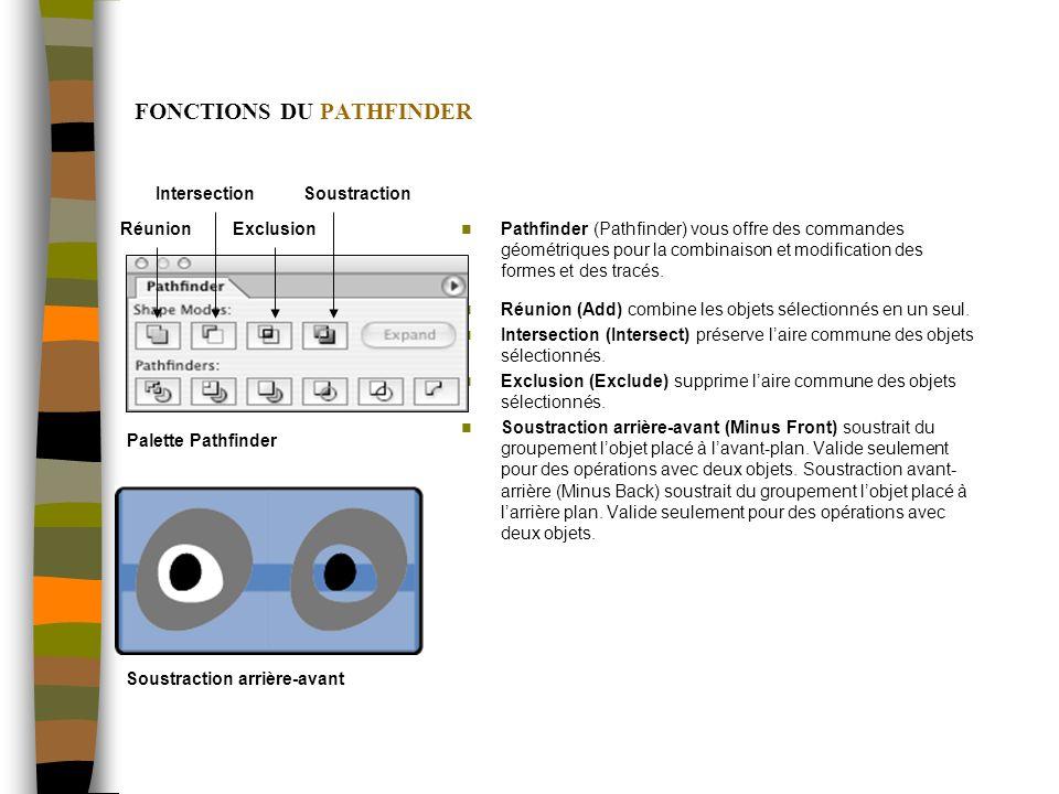FONCTIONS DU PATHFINDER Pathfinder (Pathfinder) vous offre des commandes géométriques pour la combinaison et modification des formes et des tracés. Ré