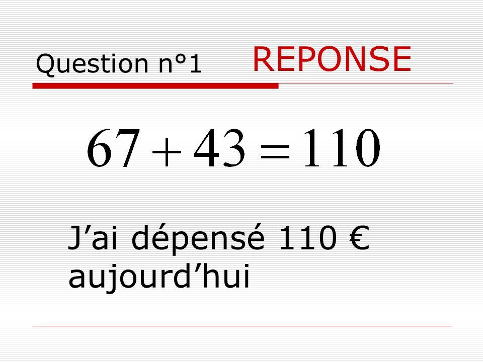 Question n°1 REPONSE Jai dépensé 110 aujourdhui