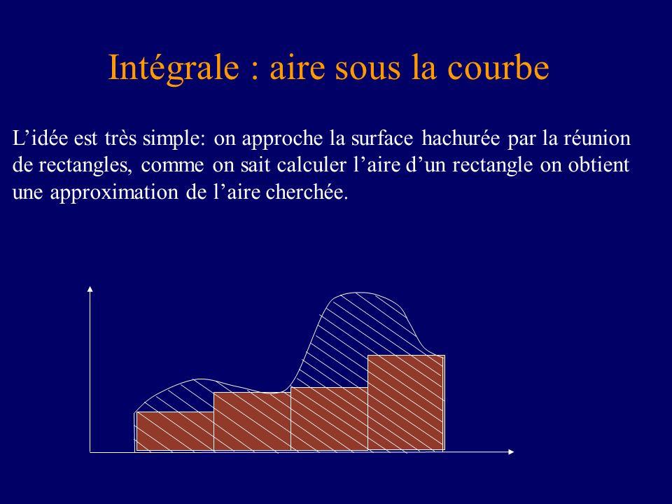 Lidée est très simple: on approche la surface hachurée par la réunion de rectangles, comme on sait calculer laire dun rectangle on obtient une approximation de laire cherchée.