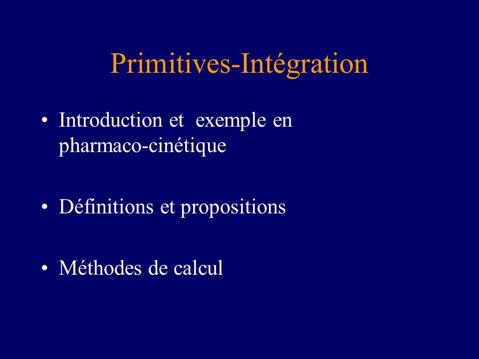 Introduction Définition : F(x) est une primitive de f(x) si F(x)=f(x) Donc F(x) + Cste est aussi une primitive.