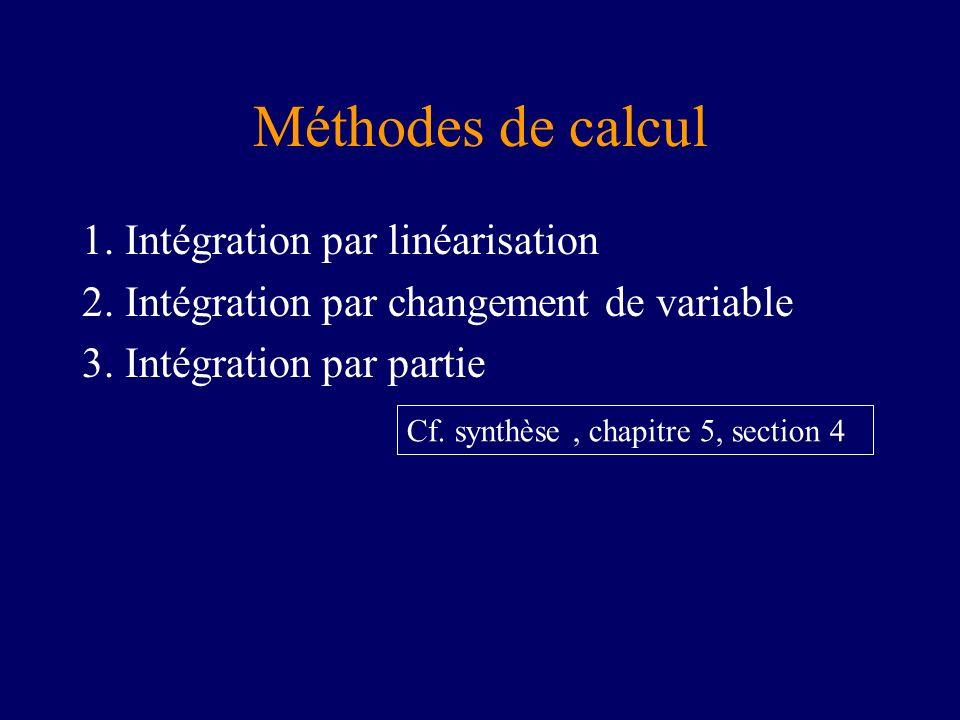 Méthodes de calcul 1. Intégration par linéarisation 2. Intégration par changement de variable 3. Intégration par partie Cf. synthèse, chapitre 5, sect