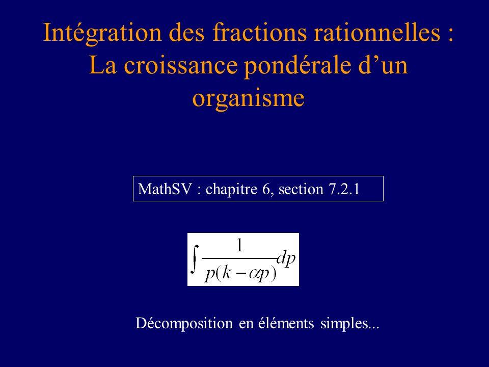 Intégration des fractions rationnelles : La croissance pondérale dun organisme MathSV : chapitre 6, section 7.2.1 Décomposition en éléments simples...