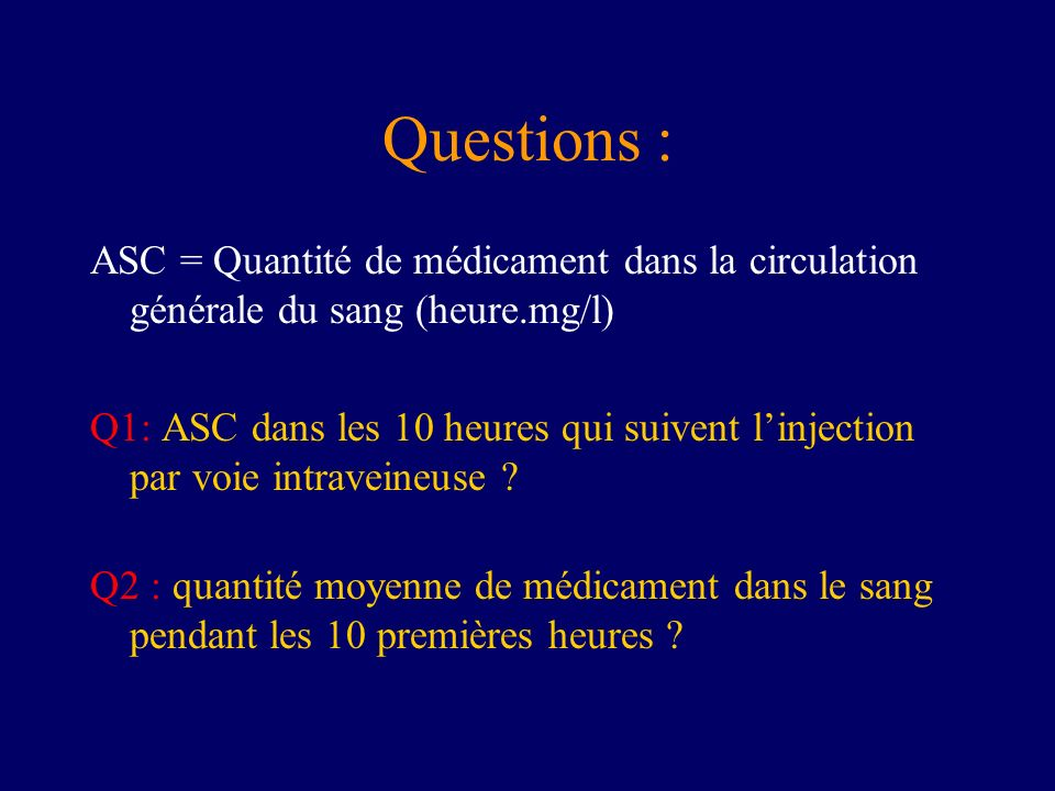 Questions : ASC = Quantité de médicament dans la circulation générale du sang (heure.mg/l) Q1: ASC dans les 10 heures qui suivent linjection par voie intraveineuse .