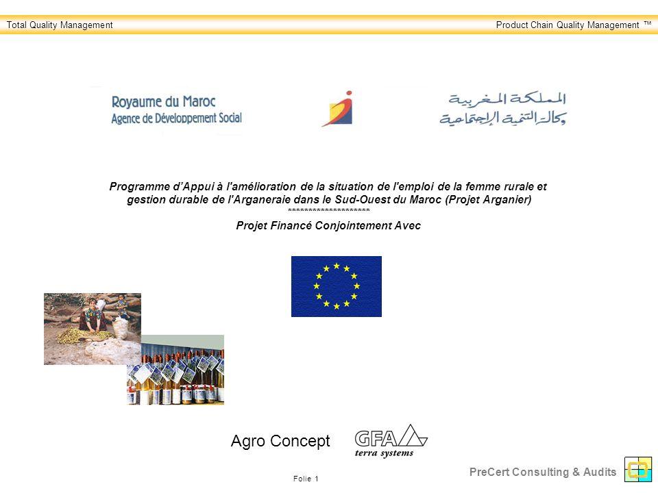 Total Quality ManagementProduct Chain Quality Management Folie 1 PreCert Consulting & Audits Programme dAppui à l amélioration de la situation de l emploi de la femme rurale et gestion durable de l Arganeraie dans le Sud-Ouest du Maroc (Projet Arganier) ******************** Projet Financé Conjointement Avec Agro Concept