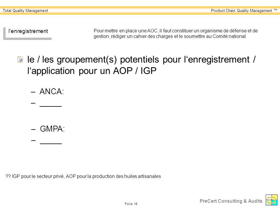 Total Quality ManagementProduct Chain Quality Management Folie 15 PreCert Consulting & Audits lenregistrement le / les groupement(s) potentiels pour lenregistrement / lapplication pour un AOP / IGP ?.