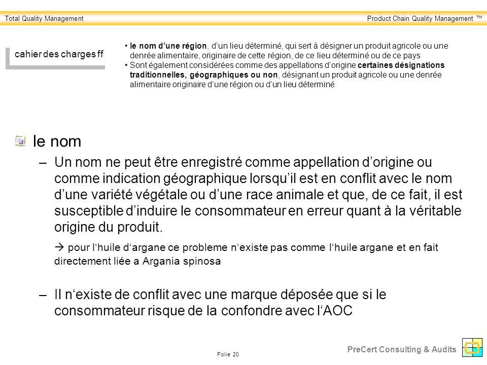 Total Quality ManagementProduct Chain Quality Management Folie 20 PreCert Consulting & Audits cahier des charges ff le nom –Un nom ne peut être enregi