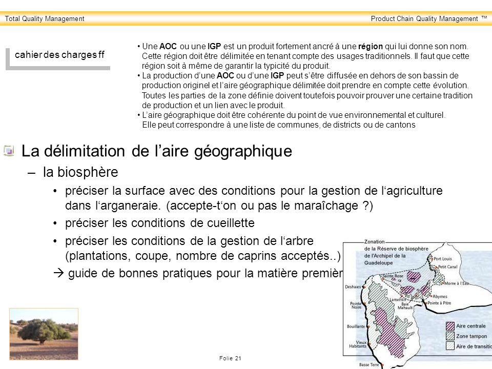 Total Quality ManagementProduct Chain Quality Management Folie 21 PreCert Consulting & Audits cahier des charges ff La délimitation de laire géographi