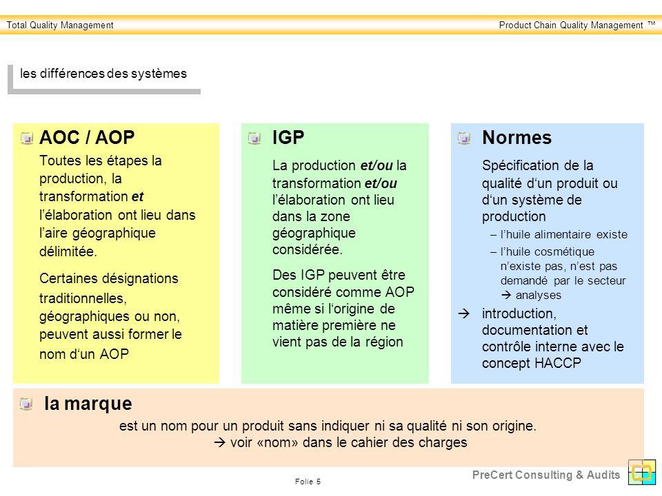 Total Quality ManagementProduct Chain Quality Management Folie 5 PreCert Consulting & Audits les différences des systèmes AOC / AOP Toutes les étapes la production, la transformation et lélaboration ont lieu dans laire géographique délimitée.