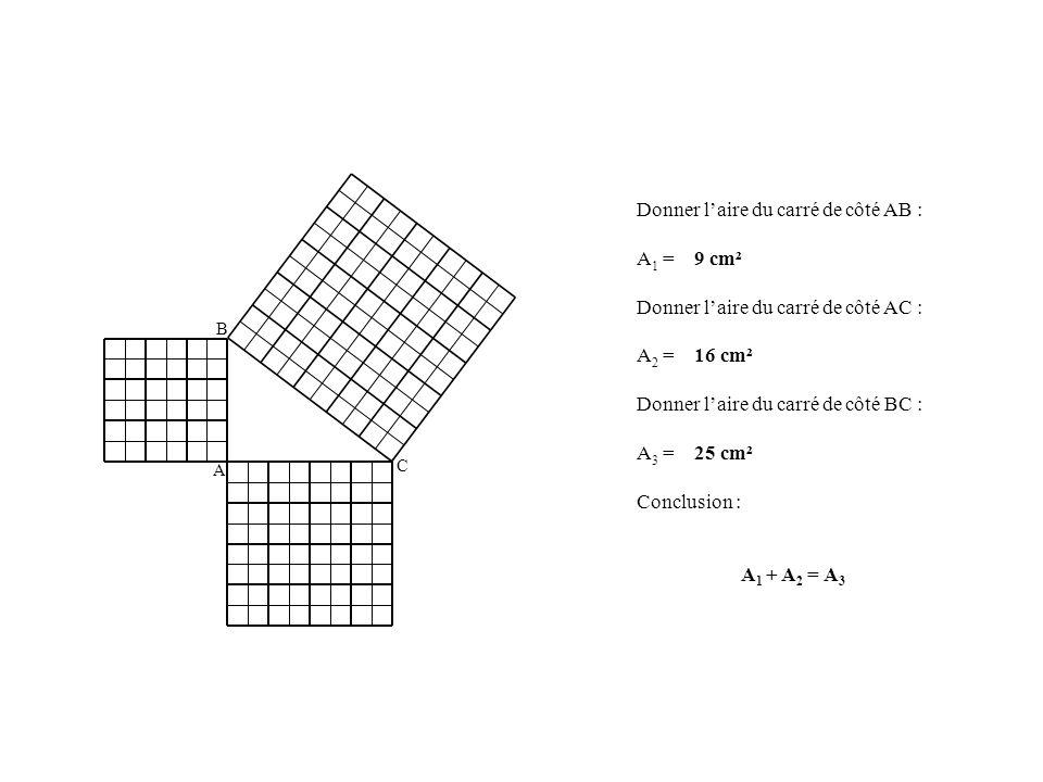 A B C Donner laire du carré de côté AB : A 1 = 9 cm² Donner laire du carré de côté AC : A 2 = 16 cm² Donner laire du carré de côté BC : A 3 = 25 cm² C