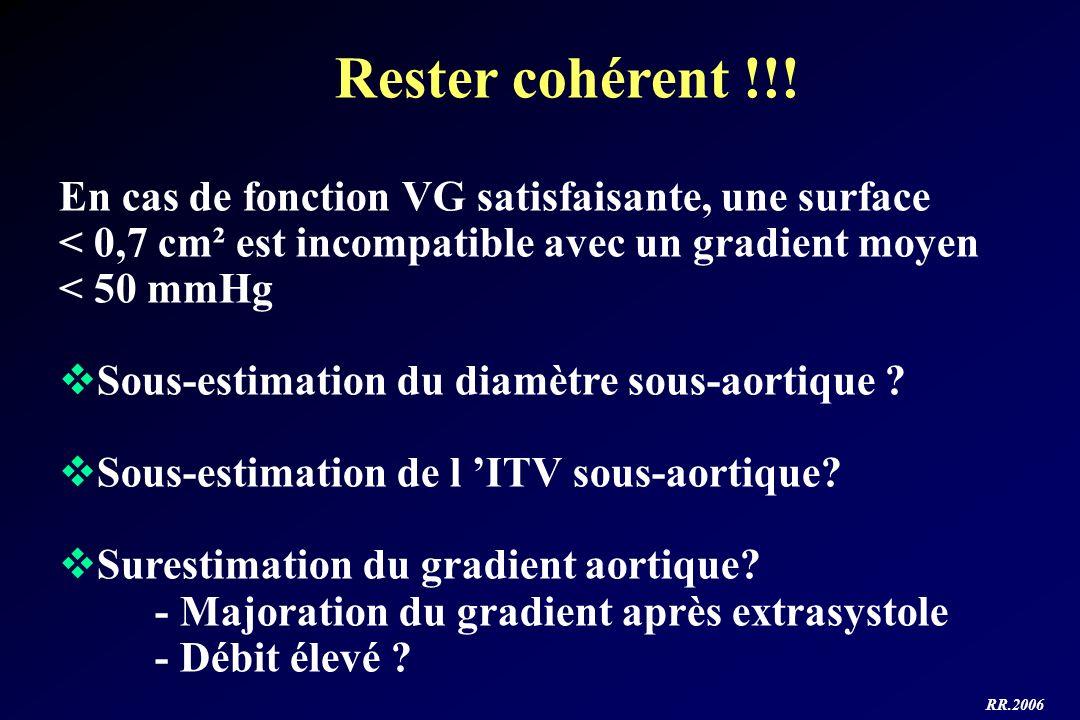 RR.2006 Rester cohérent !!! En cas de fonction VG satisfaisante, une surface < 0,7 cm² est incompatible avec un gradient moyen < 50 mmHg Sous-estimati