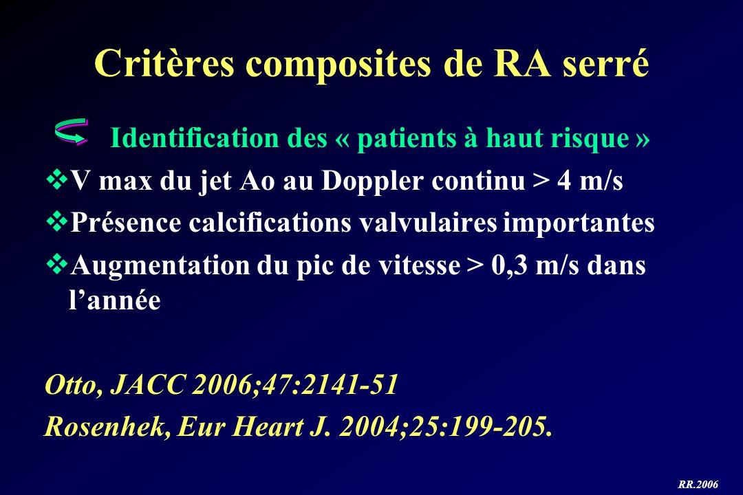 RR.2006 Critères composites de RA serré Identification des « patients à haut risque » V max du jet Ao au Doppler continu > 4 m/s Présence calcificatio