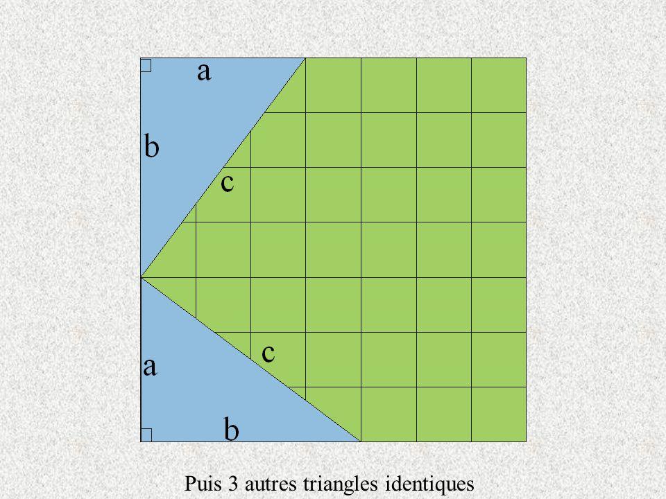 Dans un triangle rectangle dont la longueur des côtes est « a » et « b » Qua-t-on finalement montré .