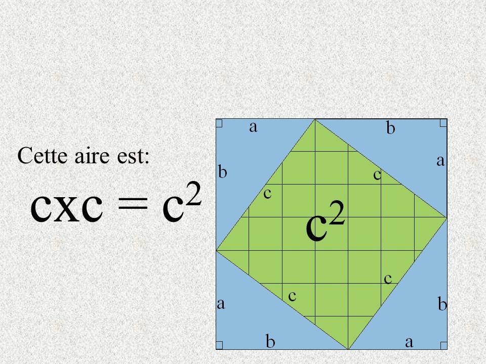c 2 Cette aire est: cxc = c 2 c2c2 c2c2