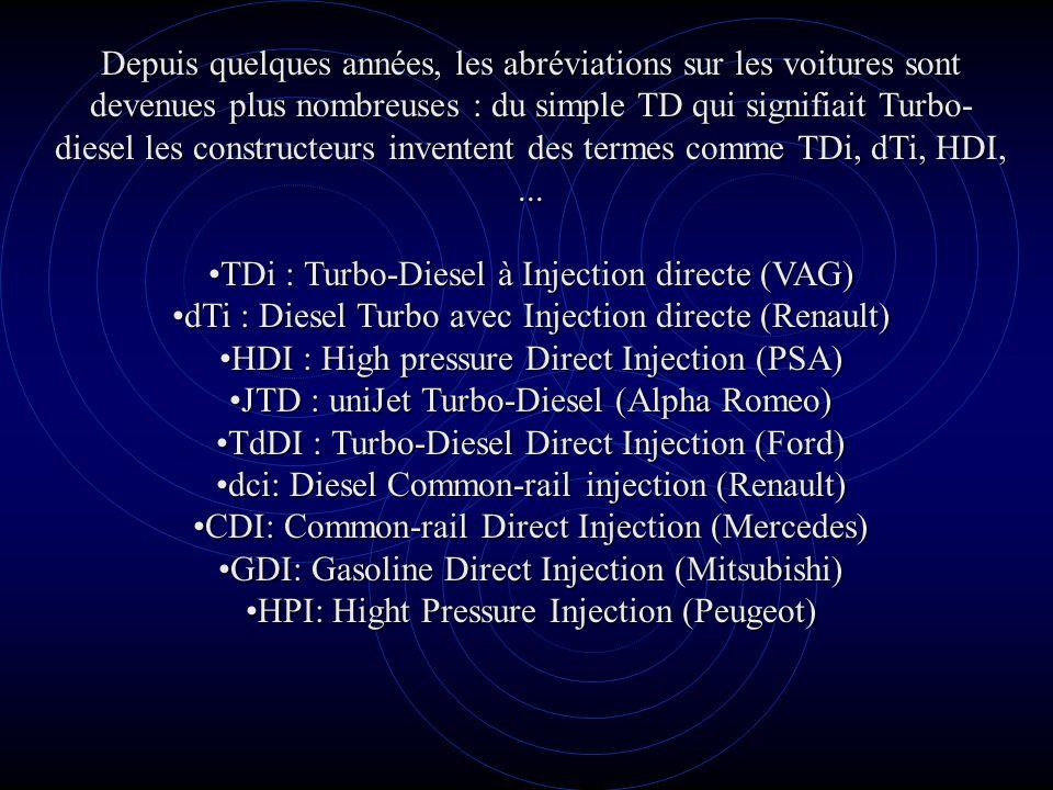 Depuis quelques années, les abréviations sur les voitures sont devenues plus nombreuses : du simple TD qui signifiait Turbo- diesel les constructeurs inventent des termes comme TDi, dTi, HDI,...