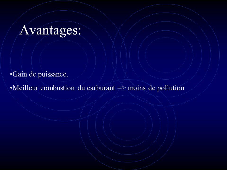 Avantages: Gain de puissance. Meilleur combustion du carburant => moins de pollution